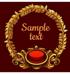 Golden ornate decoration on a red background vector