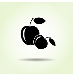 Apple icon two fruits black silhouette with vector
