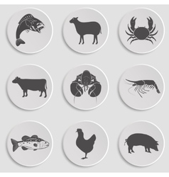 Icons set -animal meat seafood vector