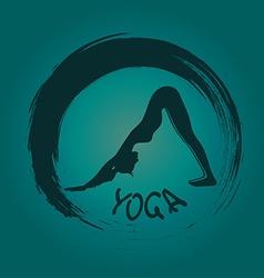 Yoga label with zen symbol vector