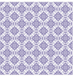 Blue damask seamless pattern background vector