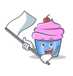 cupcake character cartoon style with flag vector image vector image