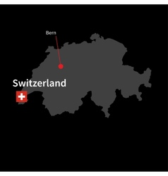 Detailed map of Switzerland and capital city Bern vector image vector image