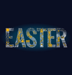 Easter linear style banner vector