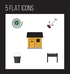 Flat icon dacha set of pail stabling barbecue vector