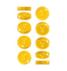 gold chinese yuan or japanese yen views cartoon vector image