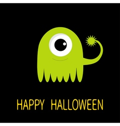 Happy Halloween greeting card Green monster with vector image vector image