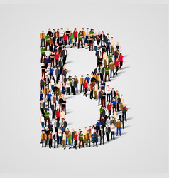 large group of people in letter b form vector image vector image