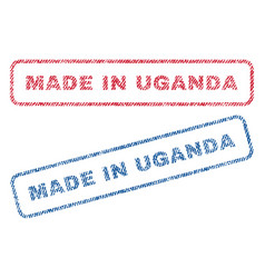 made in uganda textile stamps vector image