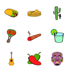Mexican icons set cartoon style vector