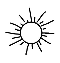 Monochrome contour with hand drawn sun close up vector