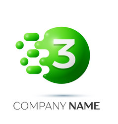 Number three splash logo green dots and bubbles vector