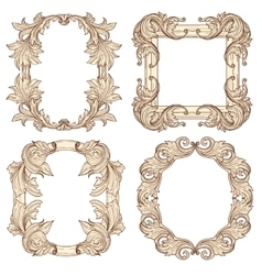 Picture frames in baroque antique style vector