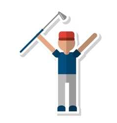 Player holding golf club design vector