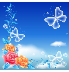 Roses and transparent butterfly vector image vector image