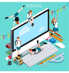 School Devices 02 People Isometric vector image vector image