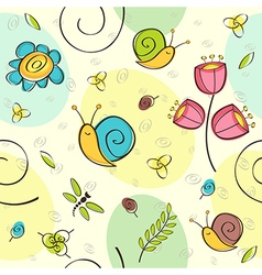 Seamless pattern flowers insects vector