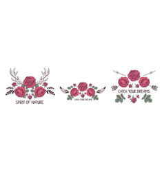 set of hand drawn boho style design with rose vector image