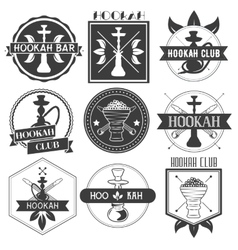 Set of hookah club logotypes vector