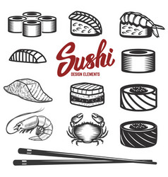 set of sushi icons on white background seafood vector image