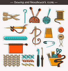 Sewing and needlework icons and design elements vector image