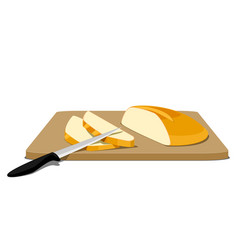 slices of bread on cutting board vector image vector image