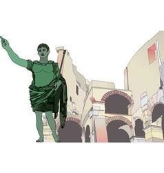 Statue of emperor gaius julius caesar to the roman vector