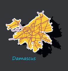 Sticker map design - damascus city vector