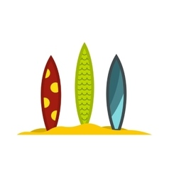 Three surfboards icon flat style vector image vector image