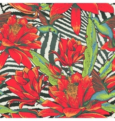 Tropical seamless vintage floral pattern vector