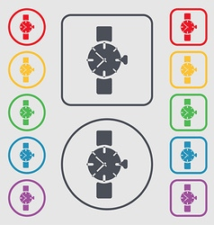 watches icon symbol Symbols on the Round and vector image