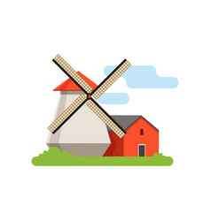 windmill mill rural landscape farm building vector image