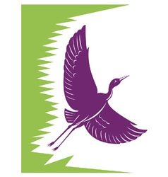 Heron Crane Flying Retro vector image