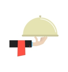 hand in black suit holding dish vector image
