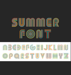 Colorful striped funny font english alphabet vector