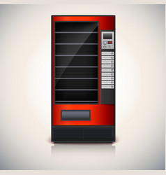 Vending machine with shelves red coloor vector