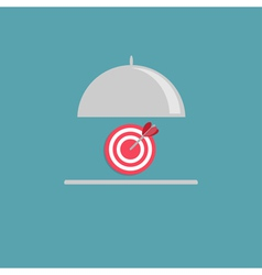 Silver platter cloche and target flat design style vector