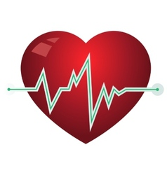 Icon heart with pulse graph vector