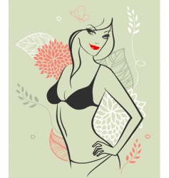 Girl nude floral vector