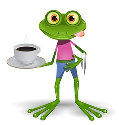 Frog with cup of coffee vector image