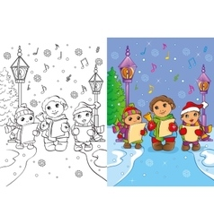Coloring book of children sing christmas carols vector