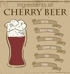 Vintage of card with recipe of cherry beer vector