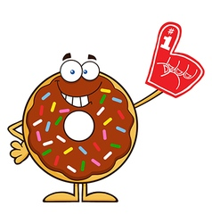 Donut cartoon with a foam finger vector