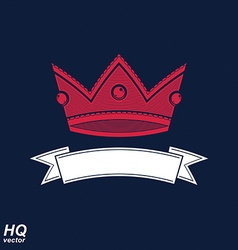 Imperial crown with undulate ribbon classic vector