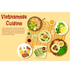 Vietnamese family dinner served on floor flat icon vector