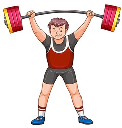 Man athlete lifting dumbbell vector