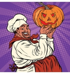 African american or latino cook with a halloween vector