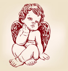 angel or cupid little baby greeting card hand vector image