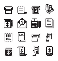 bill money income icons set vector image vector image