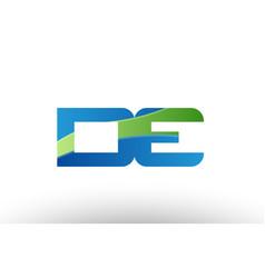 Blue green de d e alphabet letter logo vector